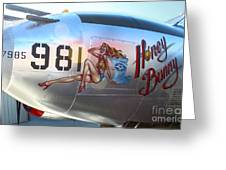 Lockheed P-38l Lightning Honey Bunny Nose Art - 05 Greeting Card by Gregory Dyer