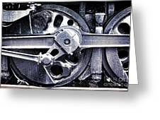 Locomotive Drive Wheels Greeting Card by Olivier Le Queinec