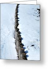 Log Fence In The Snow Greeting Card by Nancy Mueller