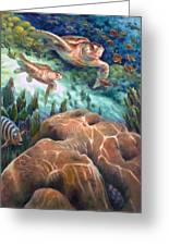 Loggerhead Sea Journey I Greeting Card by Nancy Tilles