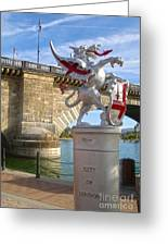 London Bridge Dragon Greeting Card by Gregory Dyer