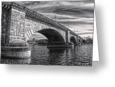 London Bridge In Black And White Greeting Card by Gregory Dyer