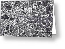 London Map Art Greeting Card by Michael Tompsett