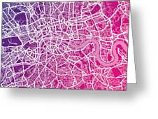 London Map Red Greeting Card by Michael Tompsett