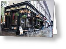 London Pub Greeting Card by Thomas Marchessault