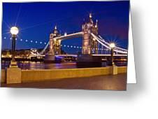 London Tower Bridge By Night Greeting Card by Melanie Viola