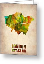 London Watercolor Map 1 Greeting Card by Naxart Studio