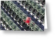 Lone Red Number 21 Fenway Park Greeting Card by Susan Candelario