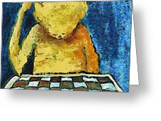 Lonesome Chess Player Greeting Card by Michal Boubin
