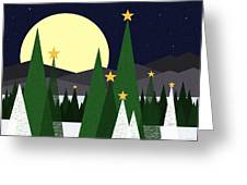 Long Night Moon Greeting Card by Val Arie