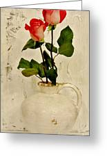 Long Stemmed Red Roses In Pottery Greeting Card by Marsha Heiken