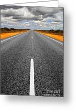 Long Straight Road With Gathering Storm Clouds Greeting Card by Colin and Linda McKie