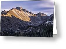 Longs Peak Sunset Greeting Card by Aaron Spong