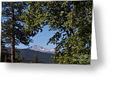 Longs Peak Through The Trees Greeting Card by Kay Pickens