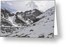 Longs Peak Winter Greeting Card by Aaron Spong