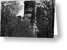 looking down Kurfurstendamm towards Kaiser Wilhelm Gedachtniskirche memorial church Berlin Germany Greeting Card by Joe Fox