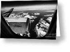 Looking Out Of Aircraft Window Over Snow Covered Fjords And Coastline Of Norway Europe Greeting Card by Joe Fox