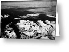 Looking Out Of Aircraft Window Over Snow Covered Fjords And Coastline Of Norway Northern Europe Greeting Card by Joe Fox