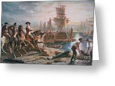 Lord Howe Organizes The British Evacuation Of Boston In March 1776 Greeting Card by English School