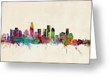 Los Angeles City Skyline Greeting Card by Michael Tompsett