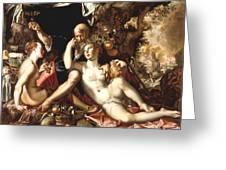Lot And His Daughters Greeting Card by Joachim Antonisz Wtewael