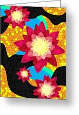 Lotus Flower Bombs In Magenta Greeting Card by Pierre Louis