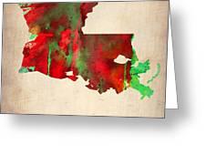 Louisiana Watercolor Map Greeting Card by Naxart Studio