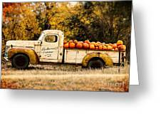 Loukonen Farms Pumpkin Truck Greeting Card by Catherine Fenner
