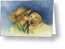 Love Me Love My Dog Greeting Card by Nan Wright