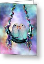 Love On A Moon Swing Greeting Card by Carol Cavalaris