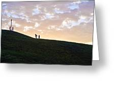 Lovers On Federal Hill At Dusk Greeting Card by Toni Martsoukos