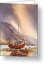 Low Tide Near Banrty Revisited Greeting Card by Roland Byrne