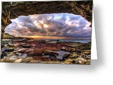 Low Tide Sunset In La Jolla Greeting Card by Eddie Yerkish