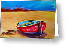 Low Tides - Landscape Of A Red Boat On The Beach Greeting Card by Patricia Awapara