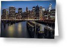 Lower Manhattan skyline Greeting Card by Eduard Moldoveanu