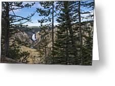 Lower Yellowstone Canyon Falls - Yellowstone National Park Wyoming Greeting Card by Brian Harig
