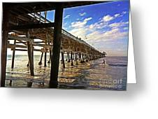 Lowtide At The Pier Greeting Card by Traci Lehman