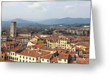 Lucca Aerial Panoramic View With Piazza Dell' Anfiteatro Greeting Card by Kiril Stanchev