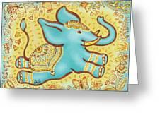 Lucky Elephant Turquoise Greeting Card by Judith Grzimek