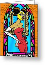 Lucky Lucy The Luchador Greeting Card by Renee Reeser Zelnick