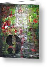 Lucky Number 9 Green Red Grey Black Abstract By Chakramoon Greeting Card by Belinda Capol