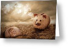 Lucky Piggy Bank Finds Lost Penny In Dirt Greeting Card by Angela Waye