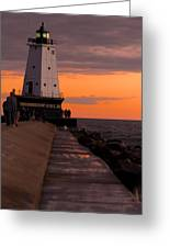 Ludington Pier And Lighthouse Greeting Card by Sebastian Musial