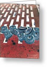 Lug Nuts On Grate Vertical Greeting Card by Heather Kirk