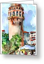 Lunch Break Under The Galata Tower Greeting Card by Faruk Koksal