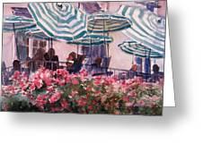 Lunch Under Umbrellas Greeting Card by Kris Parins