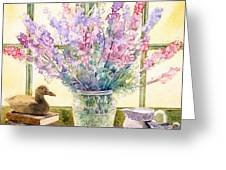 Lupins On Windowsill Greeting Card by Julia Rowntree