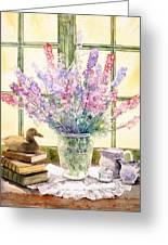 Lupins On Windowsill Greeting Card by Julia Rowntree