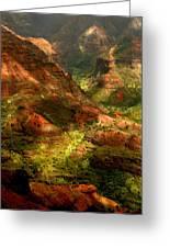 Lush Island Of Kauai Hawaii Waimea Canyon Greeting Card by Katrina Brown