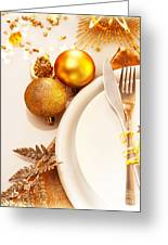 Luxury Christmas Table Setting Greeting Card by Anna Omelchenko